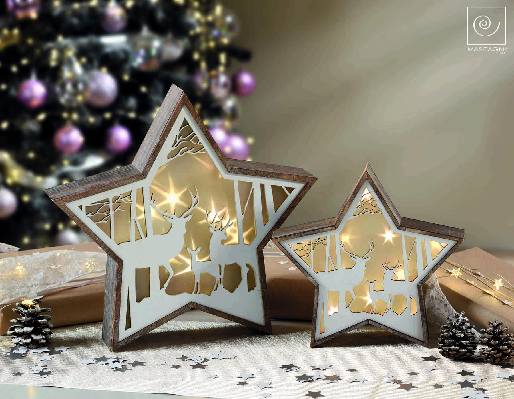 Decorazioni In Legno Natalizie : Mascagni natale stella in legno con decorazioni e luci a led
